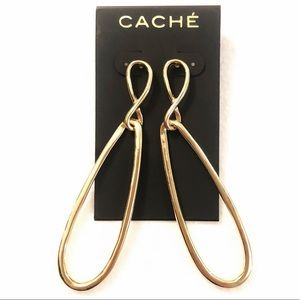 CACHE 🌟 long gold double oval earrings NWT 🌟